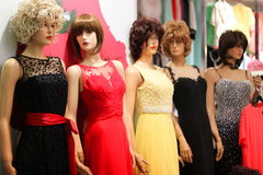 Women dresses mannequins. Exposed in store stock photo