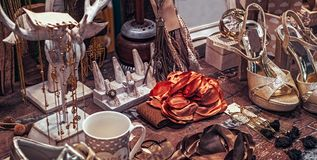 Women dressing table. Close view royalty free stock photo