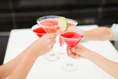 Women drink cocktails restaurant celebrating. Women drink cocktails at the restaurant celebrating Stock Photos