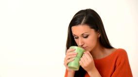 Women drink hot coffe or tea stock video footage