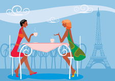 Women drinking coffee. Vector image of women drinking coffee in cafe in Paris near Eiffel Tower Stock Images