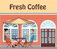 2 Women drinking coffee at a cafe outside vector Stock Image