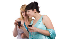 Women drinking and talking. Royalty Free Stock Photos