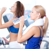 Women drinking water after sports Royalty Free Stock Images