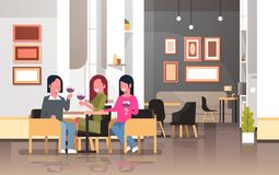 Women drinking wine international happy 8 march day holiday concept girls sitting at cafe table modern restaurant. Interior ladies holding glasses horizontal vector illustration