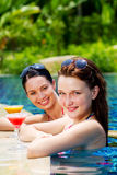 Women with drinks outdoor Royalty Free Stock Images