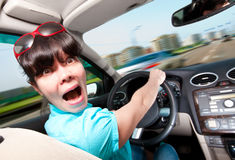 Women driving a car Stock Photo