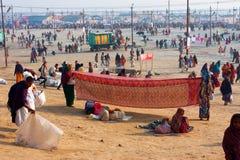 Women dry indian sari outside Royalty Free Stock Photos