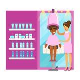 Women drying hair in beauty salon. Colorful cartoon character vector Illustration Stock Photos