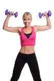 Women with dumb bells Royalty Free Stock Photo