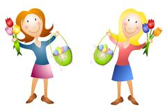 Women With Easter Baskets and Tulips Royalty Free Stock Images