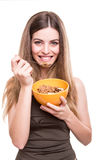 Women eating cereals Stock Photo