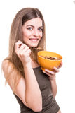 Women eating cereals Royalty Free Stock Image