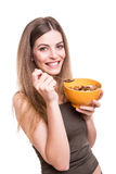 Women eating cereals Royalty Free Stock Images