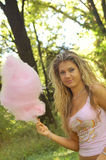 Women eating a cotton candy Royalty Free Stock Photography