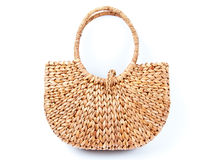 Women eco hand bag. Wicker woman hand bag isolated on white Royalty Free Stock Photo