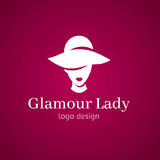 Women elegant hat for fashion ladies and lips. Glamour lady in hat logo design. White isolated illustration in pink background gir. L silhouette. Concept for Stock Illustration