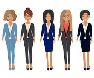Business beautiful women in office clothes. Brunette, blonde, light brown and chestnut hair. Vector set stock illustration