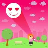 Women through the emotional love resonance  on smart phone  Stock Photo