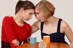 Women emotions over coffee Royalty Free Stock Photos