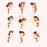 Women Emotions. Vector Set in Flat Royalty Free Stock Photo