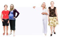 Women and empty banner stock photo