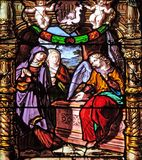 The Women at the Empty Jesus Tomb. Stained glass windows in the Saint Gervais and Saint Protais Church, Paris, France royalty free stock photo
