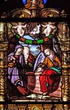 The Women at the Empty Jesus Tomb. Stained glass windows in the Saint Gervais and Saint Protais Church, Paris, France royalty free stock image