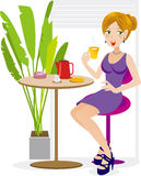 Women enjoy afternoon tea. Illustration of Women enjoy afternoon tea Stock Image