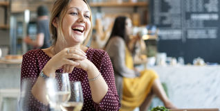 Women Enjoy Drinks Club Restaurant Smiling Concept Stock Photos