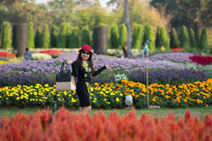 women enjoy in flower garden royalty free stock photos