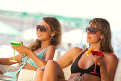 Women enjoying in bar with a glasses of martini Royalty Free Stock Photos