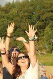Women enjoying bubbles at the festival Stock Photo