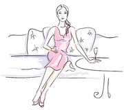 Women enjoying a cocktail. Watercolor-style illustration of a women enjoying a cocktail. Drawn with Illustrator brushes to achieve natural media look in digital Royalty Free Stock Photography