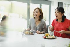 Women Enjoying a Family Dinner at Home. Family are enjoying eating a stir fry dinner together at home. There is a senior women and her daughter in the shot and Stock Images