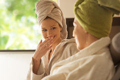 Women enjoying spa treatments. Royalty Free Stock Images