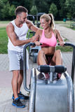 Women excercise with sport instructor Stock Photography