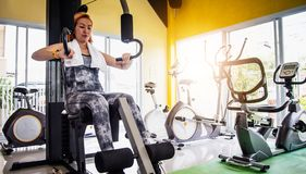 Women exercise in a professional gym with a selection of exerci. Se equipment stock image