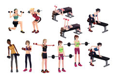 Women exercises with weights Royalty Free Stock Photos