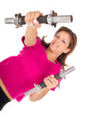 Women  exercising. Attractive young women exercising with weights Stock Image