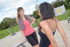 Women exercising in outside gym Stock Images