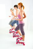 Women exercising on stepping machine. Group of women doing exercise on stepper. Side view Stock Images