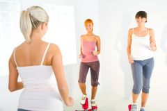 Women exercising on stepping machine Royalty Free Stock Image