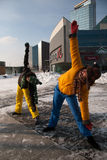 Women exercising in winter cold, Vilnius Stock Photos