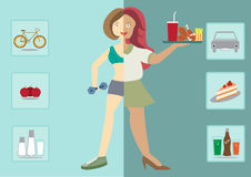 Women exists before and after the diet,healthy lifestyle, Stock Image