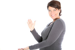 Women expanding her hands to clap Royalty Free Stock Photos