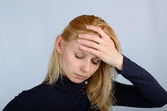 Women experience headaches and stress Royalty Free Stock Image