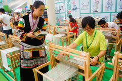 Women are experiencing the ancient fabric of China Stock Image