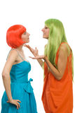 Women explain something gesticulating Stock Images