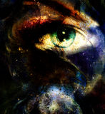 Women eye abstract  painting in space and staes, make up Stock Photography